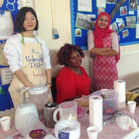 Parents at a health fair organised by our Bilingual Advisers at Baden Powell Primary School.