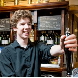 Man pulling a pint