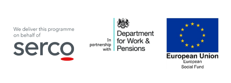 Serco, DWP and ESF logos