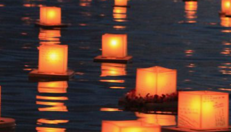 Lanterns on a lake