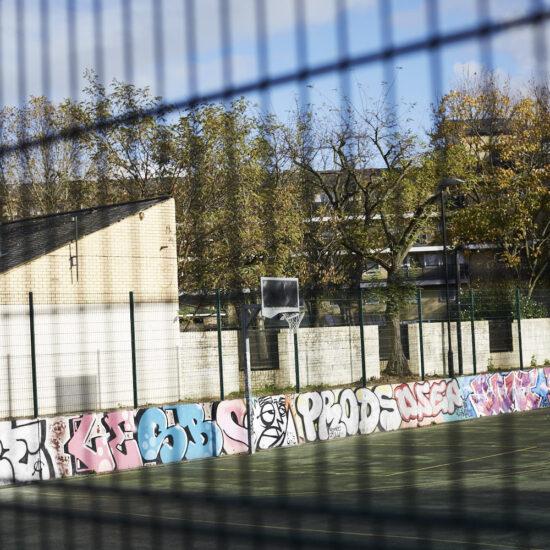 Fence bars, Grafitti, Sunshine