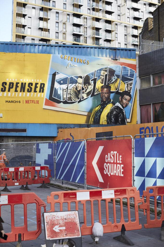 Construction work, road signs, billboard