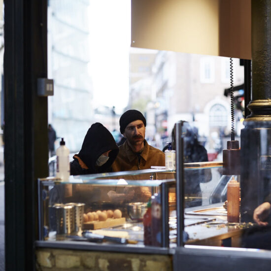 People interacting in Borough Market